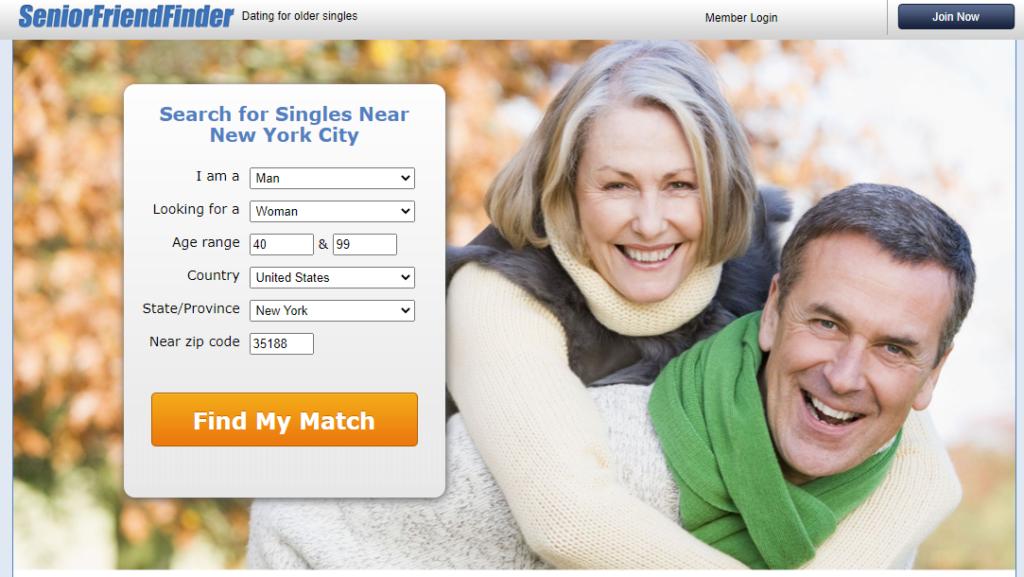 SeniorFriendFinder main page